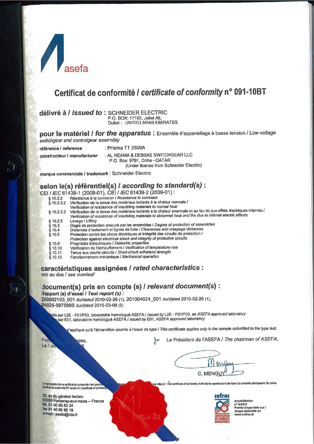 2500A rated Asefa Type test certificate