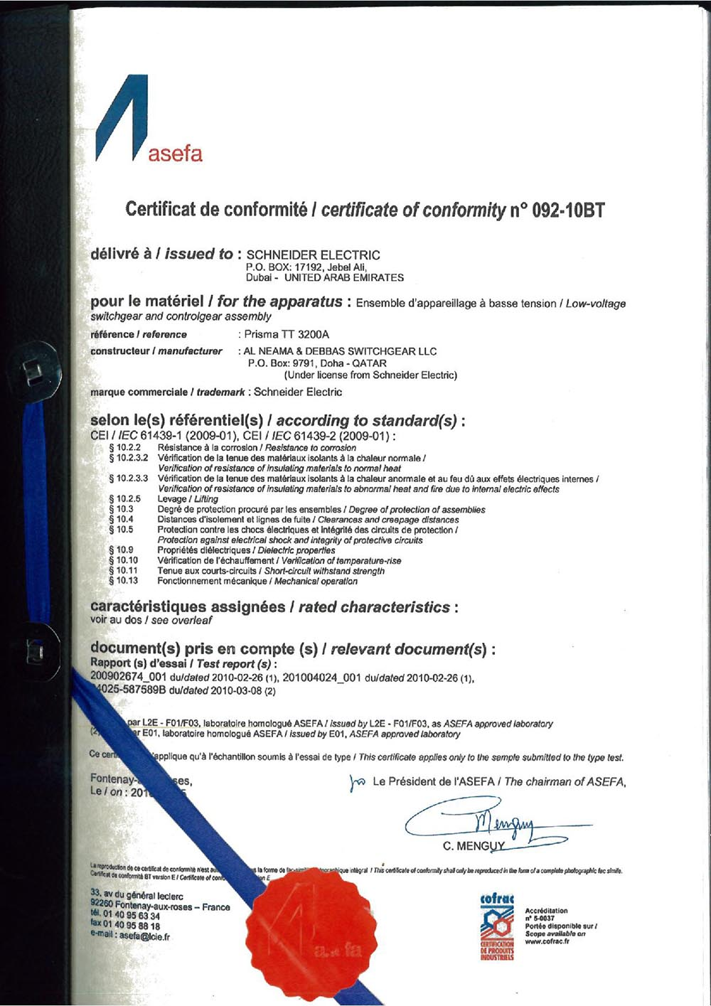 3200A rated Asefa Type test certificate