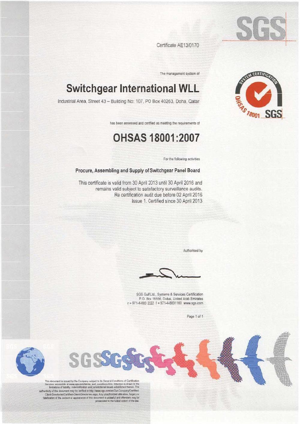 OHSAS 18001:2007 Health, Safety & Environment